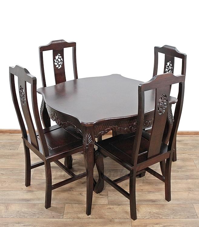 Stylowy Rzeźbiony Klasyczny Stół 4 Krzesła